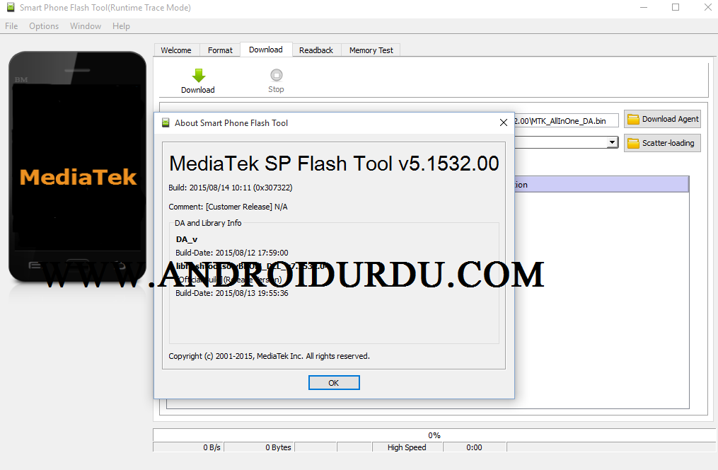 Download SP Flash Tool v 5.1532 for Windows